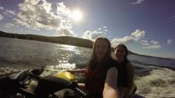 My sister and I on a jetski in NH